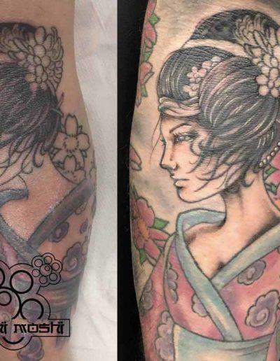 tatuaje geisha brazo pamplona